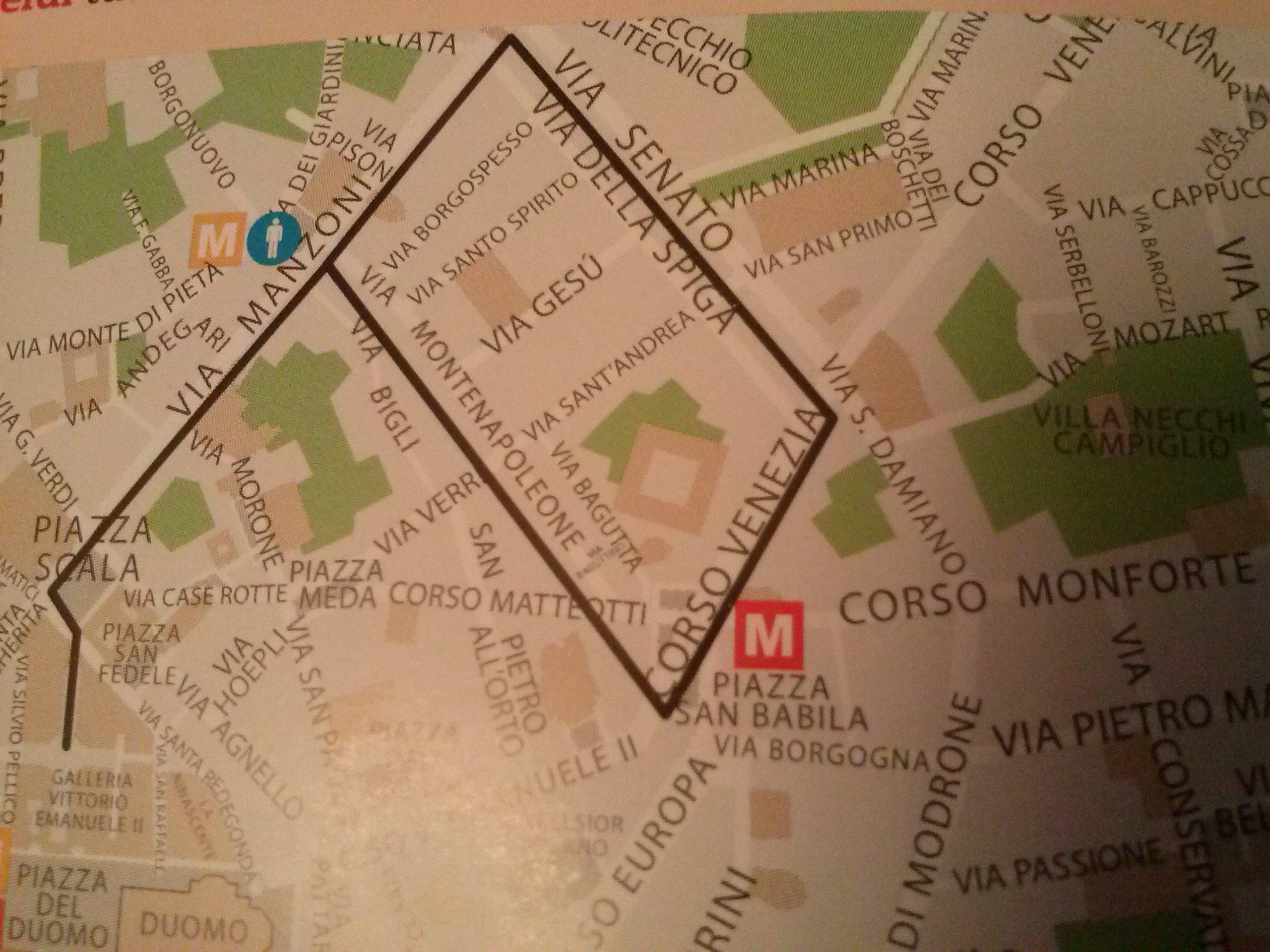 Золотой четырехугольник в Милане